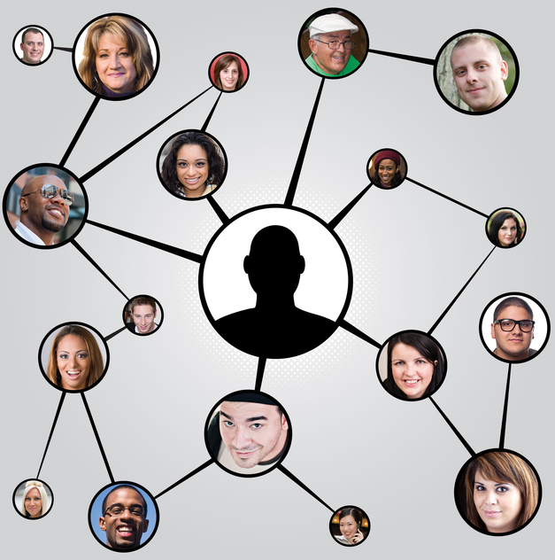 Several faces are enclosed in circular portraits and connected by lines, making a web of connections
