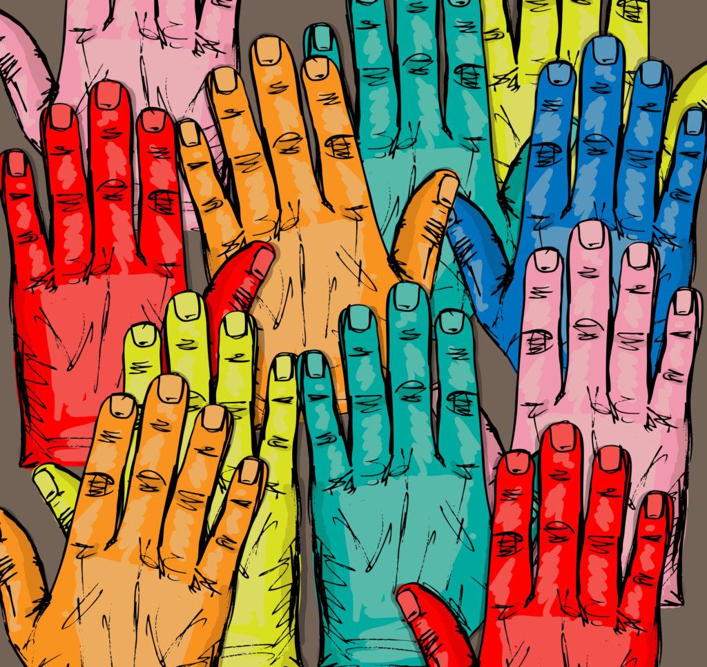Sketch of volunteer group raising hands