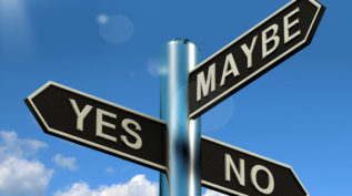 Yes No Maybe Signpost Showing Voting Decision Or Evaluation