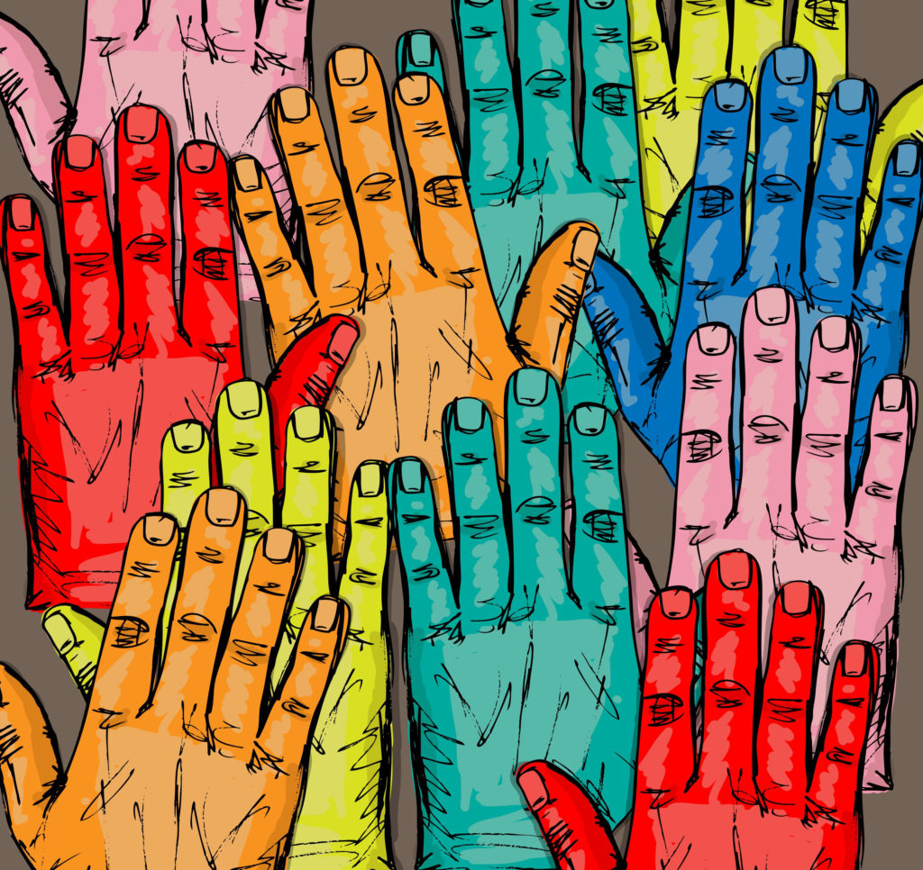 Sketch of hands raised in various colors
