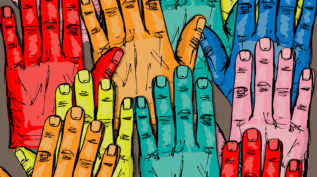 Sketch of hands raised in various colors