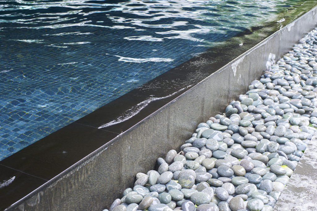 swimming pool with decorative stones