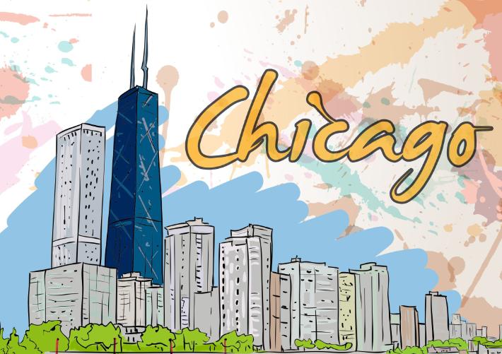 Doodle of Chicago skyline
