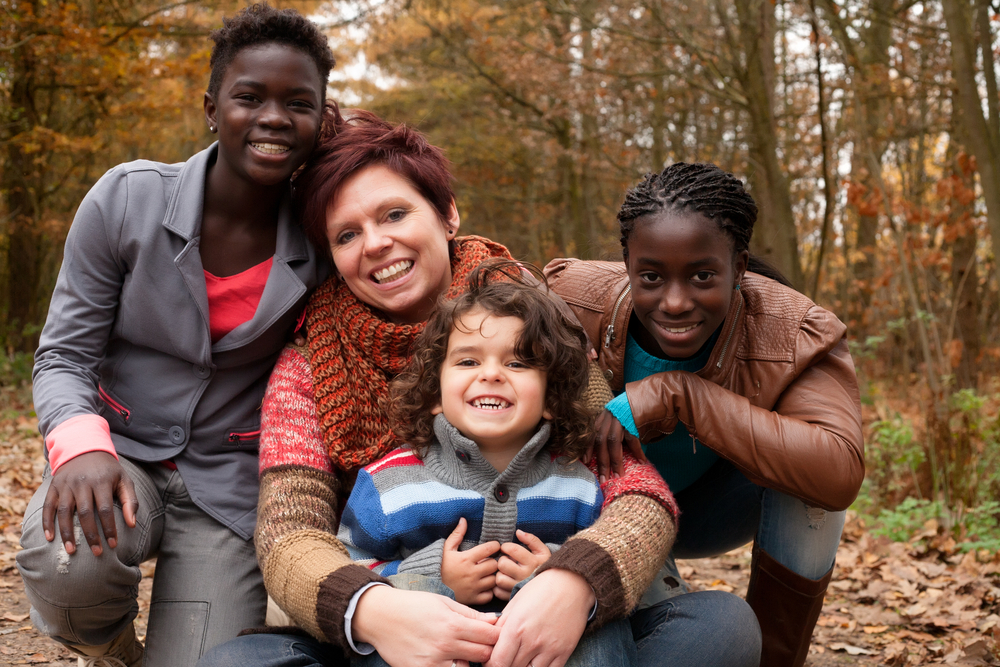 diverse family with adopted children