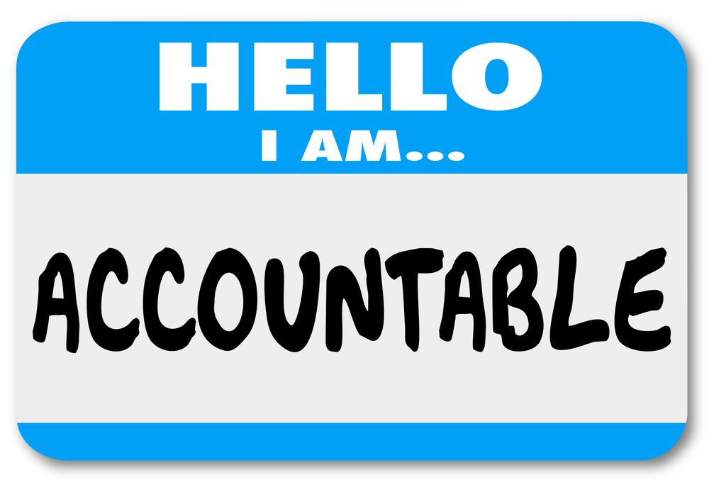 "A nametag that says ""accountable"""