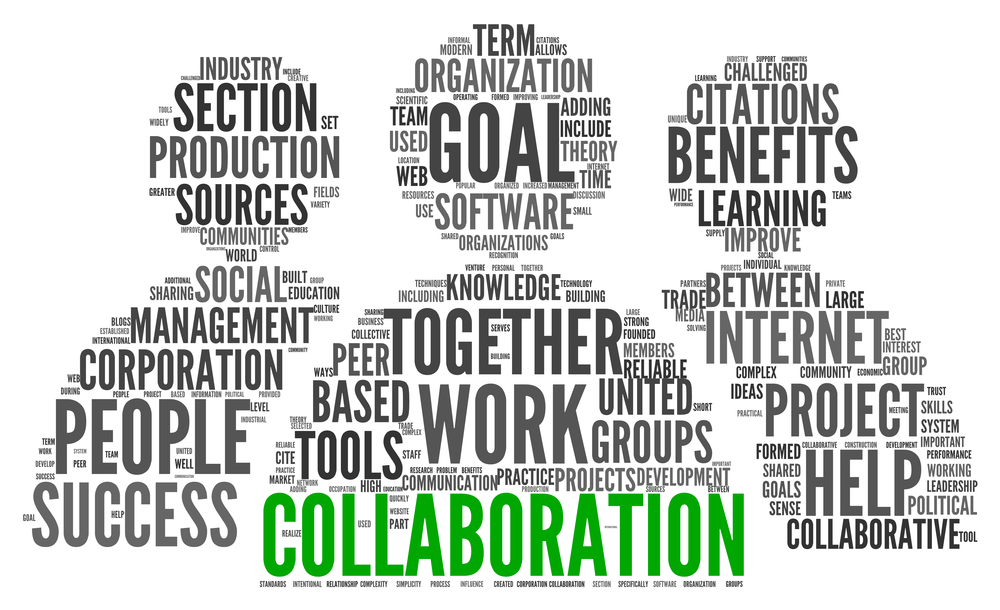 collaboration related words in the shape of three humans