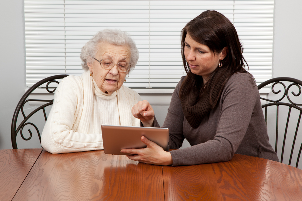 teaching a grandmother technology with a tablet