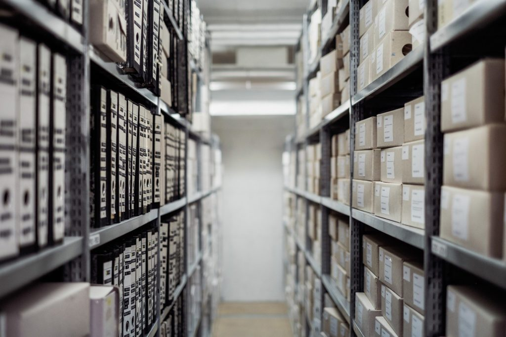 archives stored in shelves in a library