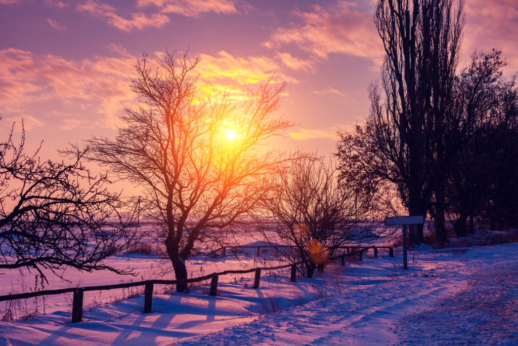 rich purple, red sunset in winter