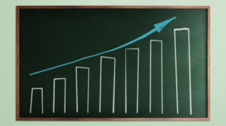 Chalkboard with graph that is increasing