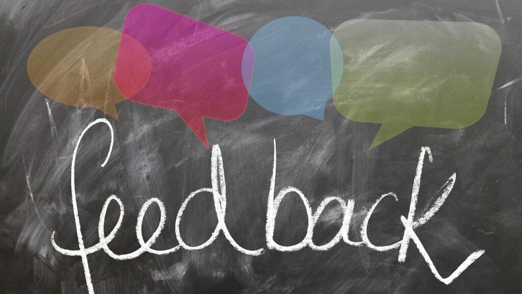 feedback written on chalkboard