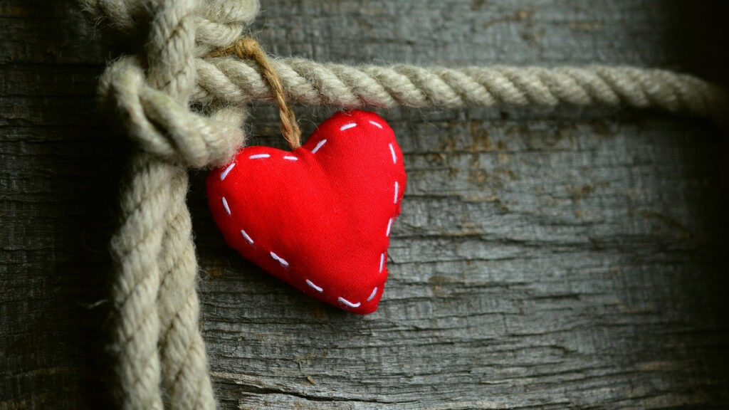 fabric heart on rope