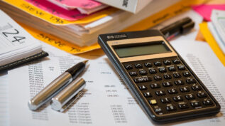calculator on budget paper